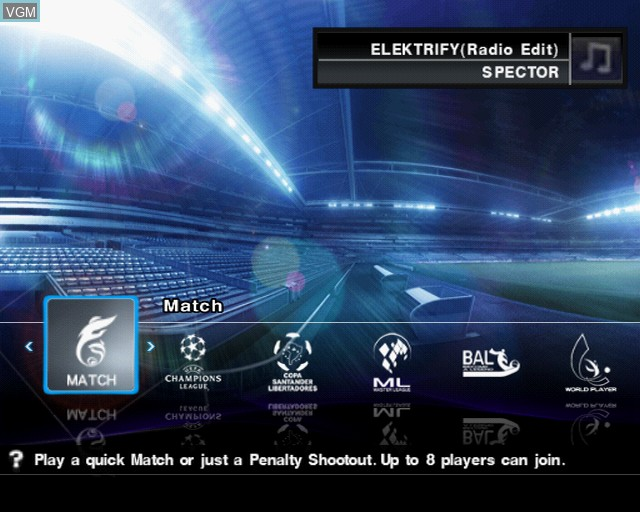 Menu screen of the game Pro Evolution Soccer 2012 on Sony Playstation 2