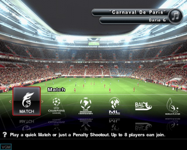 Menu screen of the game Pro Evolution Soccer 2014 on Sony Playstation 2