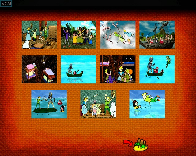 Menu screen of the game Peter Pan on Sony Playstation 2