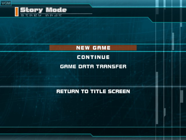 Menu screen of the game Phantasy Star Universe - Ambition of the Illuminus on Sony Playstation 2