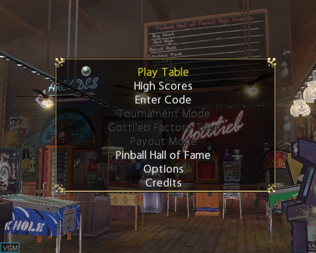 Menu screen of the game Pinball Hall of Fame - The Gottlieb Collection on Sony Playstation 2