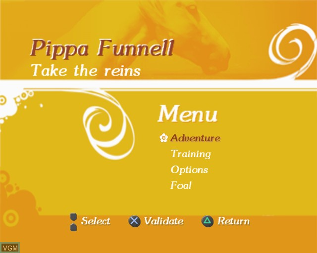 Menu screen of the game Pippa Funnell - Take the Reins on Sony Playstation 2