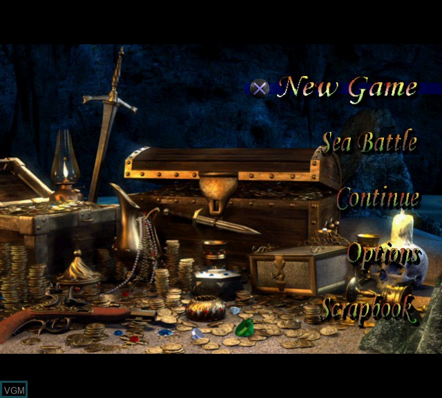 Menu screen of the game Pirates - The Legend of Black Kat on Sony Playstation 2