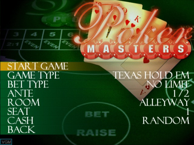 Menu screen of the game Poker Masters on Sony Playstation 2