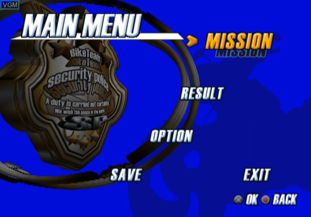 Menu screen of the game Police Chase Down on Sony Playstation 2