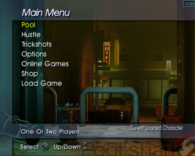 Menu screen of the game Pool Shark 2 on Sony Playstation 2