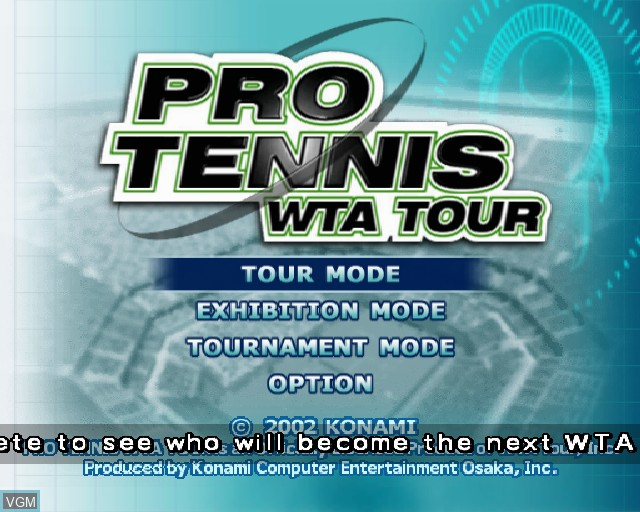 Menu screen of the game Pro Tennis WTA Tour on Sony Playstation 2