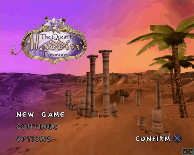 Menu screen of the game Quest for Aladdin's Treasure, The on Sony Playstation 2