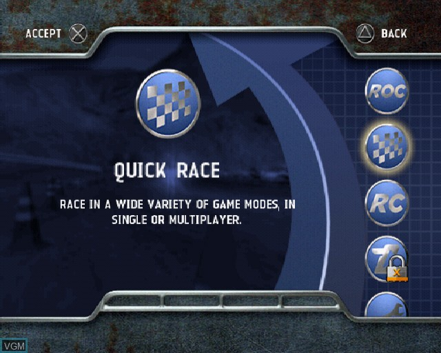 Menu screen of the game Rally Fusion - Race of Champions on Sony Playstation 2