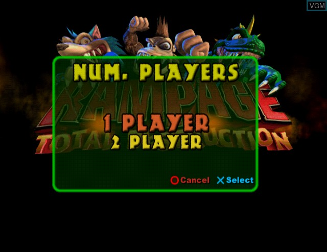 Menu screen of the game Rampage - Total Destruction on Sony Playstation 2