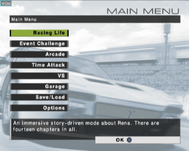 Menu screen of the game R - Racing on Sony Playstation 2