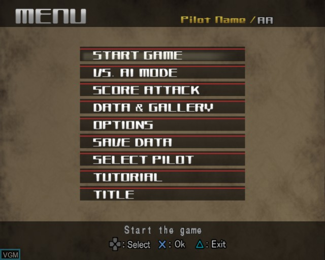 Menu screen of the game R-Type Final on Sony Playstation 2