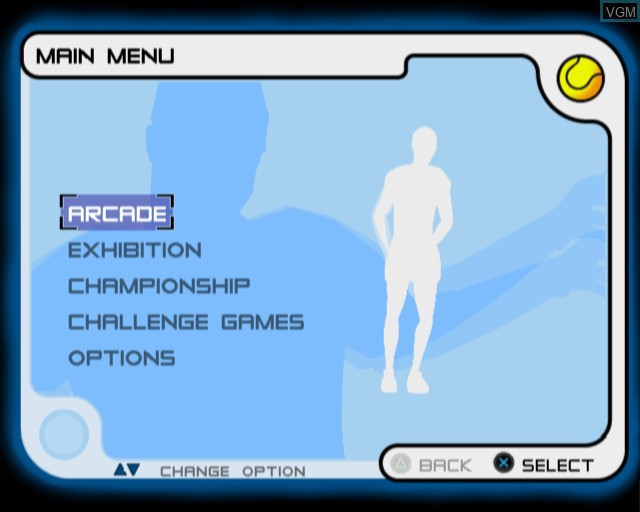 Menu screen of the game Slam Tennis on Sony Playstation 2