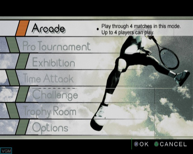 Menu screen of the game Smash Court Tennis Pro Tournament on Sony Playstation 2
