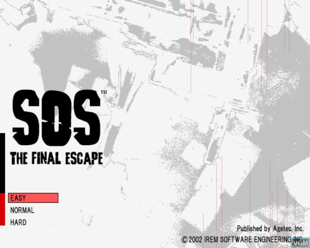 Menu screen of the game S.O.S. - The Final Escape on Sony Playstation 2