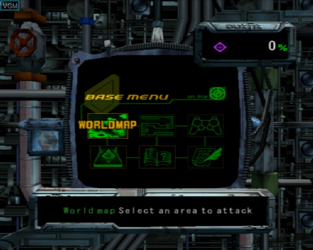 Menu screen of the game Sub Rebellion on Sony Playstation 2