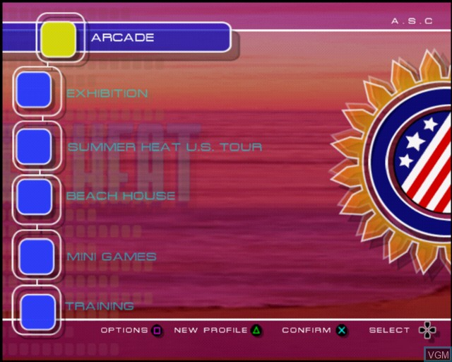 Menu screen of the game Summer Heat Beach Volleyball on Sony Playstation 2