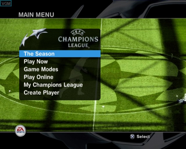 Menu screen of the game UEFA Champions League 2004-2005 on Sony Playstation 2