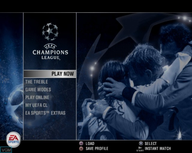 Menu screen of the game UEFA Champions League 2006-2007 on Sony Playstation 2