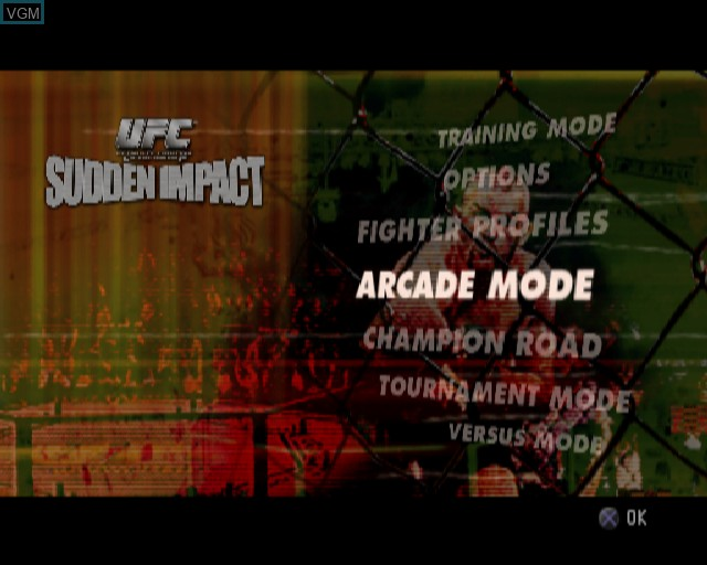 Menu screen of the game UFC - Sudden Impact on Sony Playstation 2