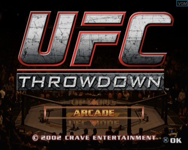 Menu screen of the game Ultimate Fighting Championship - Throwdown on Sony Playstation 2