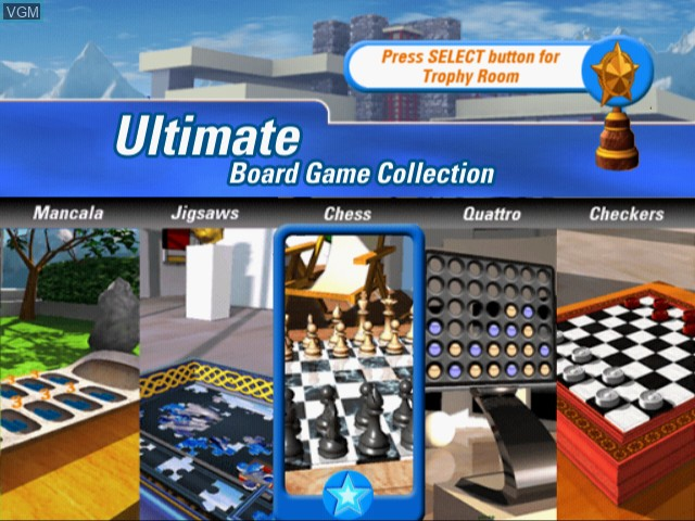 Menu screen of the game Ultimate Board Game Collection on Sony Playstation 2