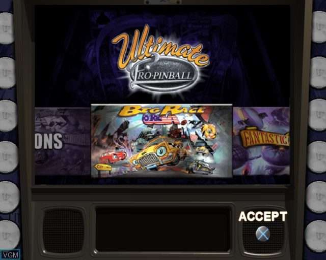 Menu screen of the game Ultimate Pro Pinball on Sony Playstation 2