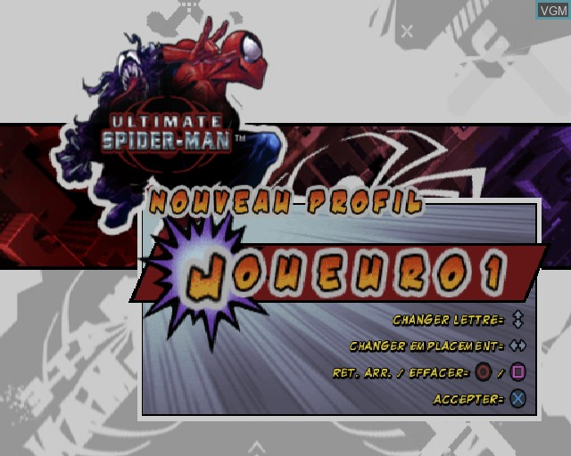 Menu screen of the game Ultimate Spider-Man on Sony Playstation 2