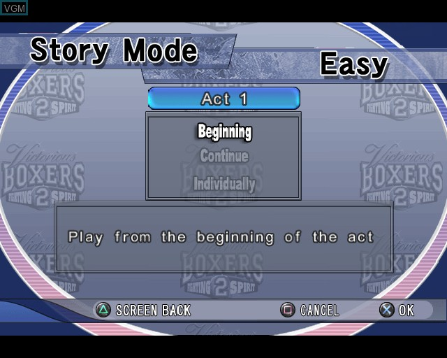 Menu screen of the game Victorious Boxers 2 - Fighting Spirit on Sony Playstation 2