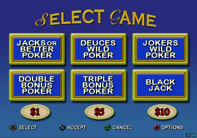 Menu screen of the game Video Poker & Blackjack on Sony Playstation 2