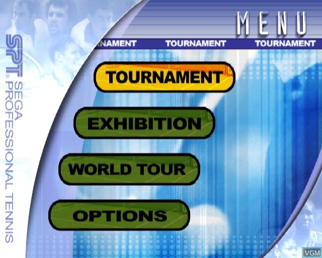 Menu screen of the game Virtua Tennis 2 on Sony Playstation 2