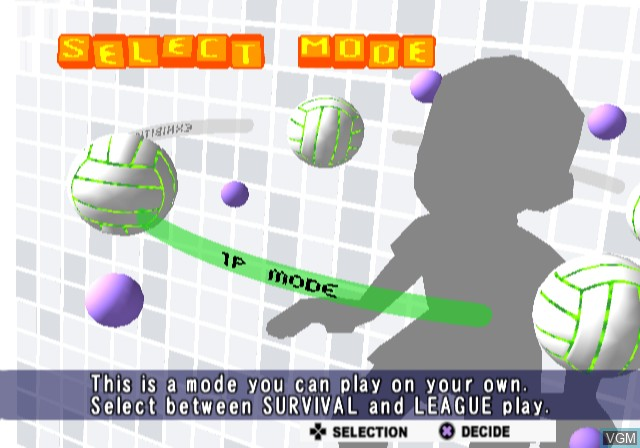 Menu screen of the game Volleyball Challenge on Sony Playstation 2