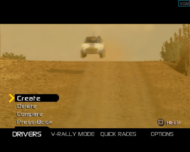 Menu screen of the game V-Rally 3 on Sony Playstation 2