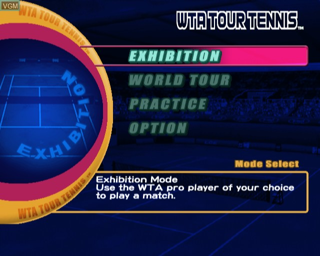 Menu screen of the game WTA Tour Tennis on Sony Playstation 2