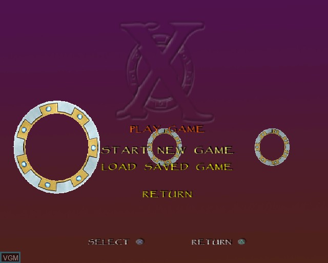 Menu screen of the game Xena Warrior Princess on Sony Playstation 2