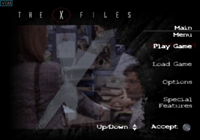 Menu screen of the game X-Files, The - Resist or Serve on Sony Playstation 2