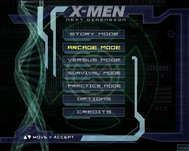 Menu screen of the game X-Men - Next Dimension on Sony Playstation 2