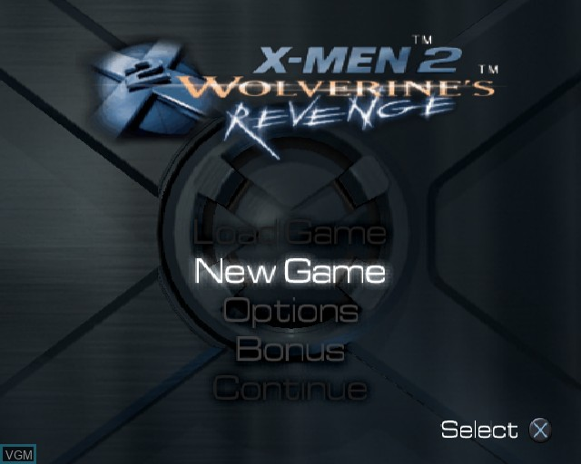 Menu screen of the game X-Men 2 - Wolverine's Revenge on Sony Playstation 2