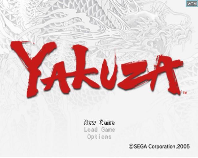 Menu screen of the game Yakuza on Sony Playstation 2