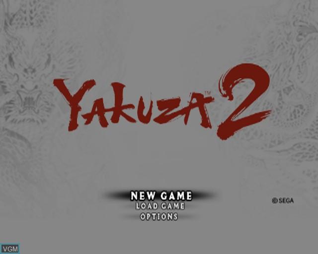 Menu screen of the game Yakuza 2 on Sony Playstation 2