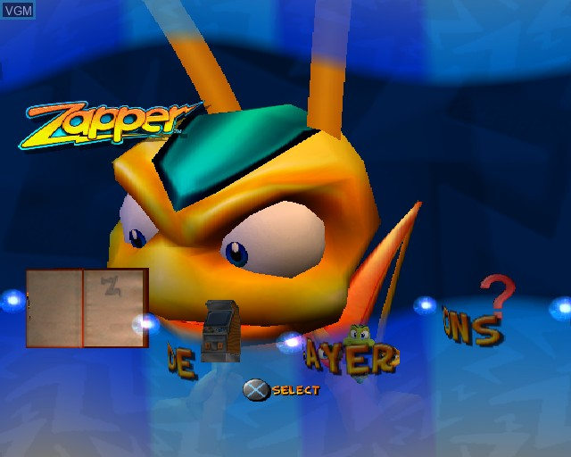 Menu screen of the game Zapper on Sony Playstation 2