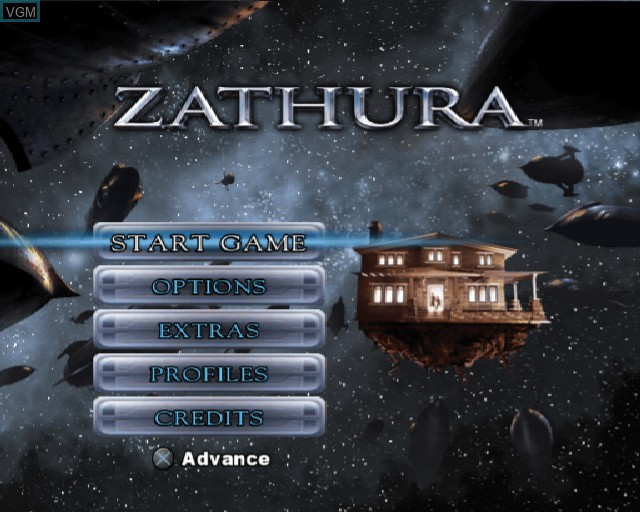 Menu screen of the game Zathura on Sony Playstation 2