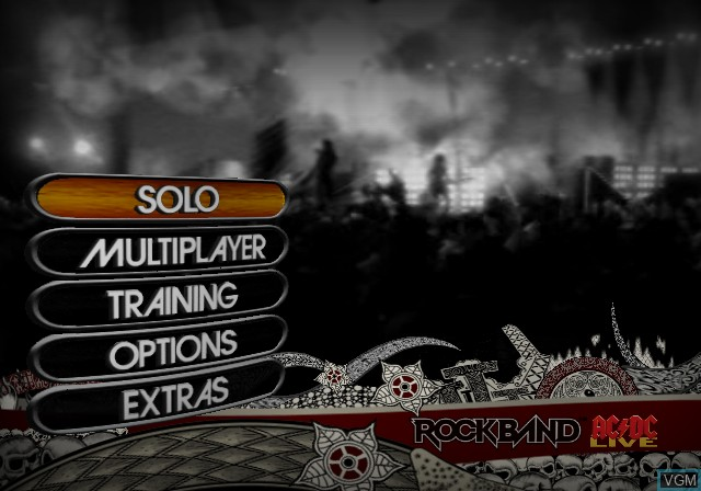 Menu screen of the game AC/DC LIVE - Rock Band Track Pack on Sony Playstation 2