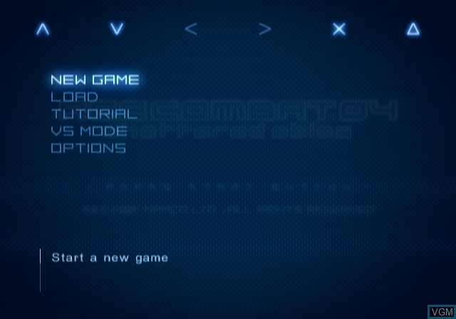Menu screen of the game Ace Combat 04 - Shattered Skies on Sony Playstation 2