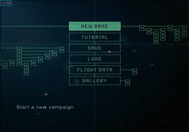 Menu screen of the game Ace Combat 5 - The Unsung War on Sony Playstation 2