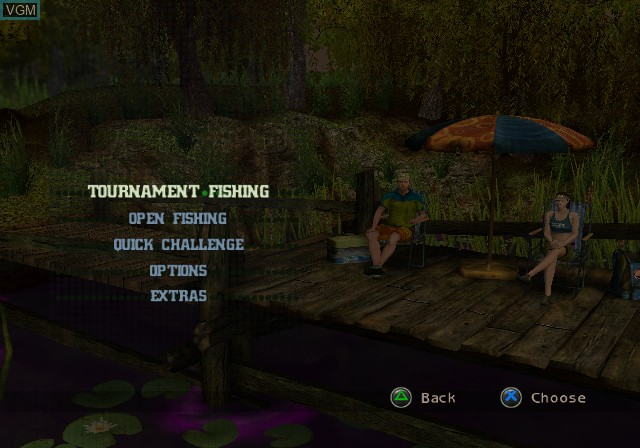 Menu screen of the game Cabela's Monster Bass on Sony Playstation 2
