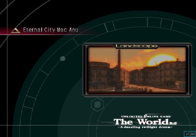 Menu screen of the game .hack//G.U. Vol. 1//Rebirth on Sony Playstation 2