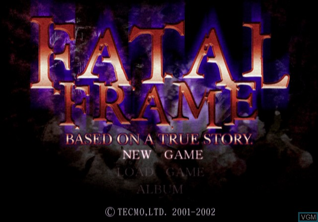 Menu screen of the game Fatal Frame on Sony Playstation 2