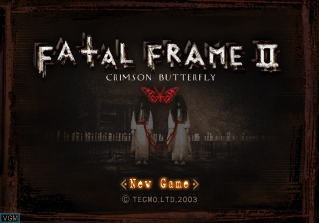 Menu screen of the game Fatal Frame II - Crimson Butterfly on Sony Playstation 2