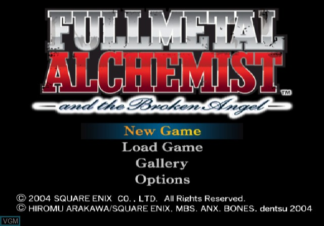 Menu screen of the game Fullmetal Alchemist and the Broken Angel on Sony Playstation 2